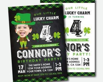 St Patrick Day Birthday Invitation with photo, Lucky Charm Invitation, St Patricks Day Party, Personalized DIGITAL Invitation