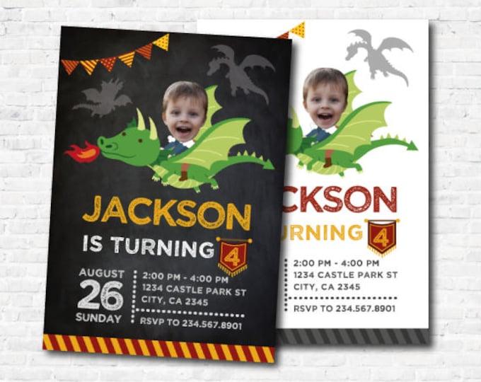 Dragon Invitation with photo, Dragon Birthday Party, Knight Invitation, Medieval Birthday Party, Personalized Digital Invite