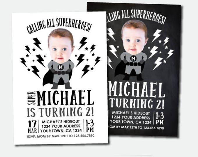 Superhero Invitation with photo, Superhero Birthday Party, Black & White Invites, Personalized Digital Invitations, 2 options