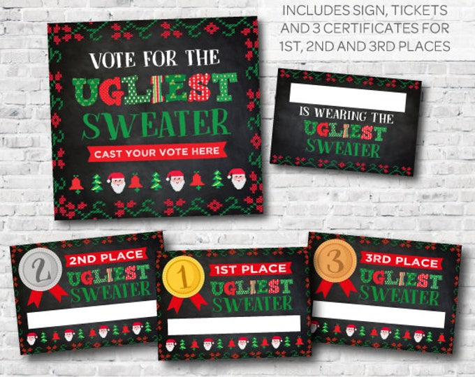 Ugly Sweater Contest Printables, Holiday Party, Christmas Birthday Party, Vote for the ugliest sweater, INSTANT DOWNLOAD