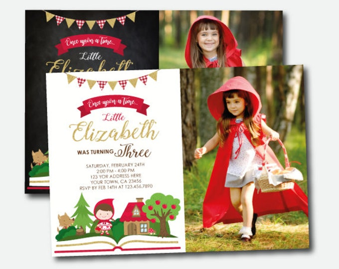Little Red Riding Hood Invitation With Photo, Storybook Invitation, Woodland Birthday Girl, Once upon a time Invitation, Digital, 2 Options