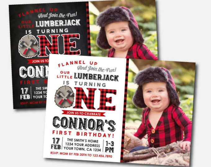 Lumberjack First Birthday Invitation with photo, Flannel Invitation, Woodland First Birthday Invitation, Personalized Digital Invite