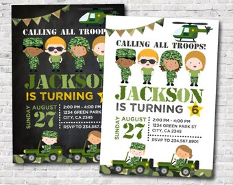 Army Birthday Invitation, Army Invitations, Camo Invitations, Soldier Birthday Invitations, Party, DIGITAL Invitation, 2 options