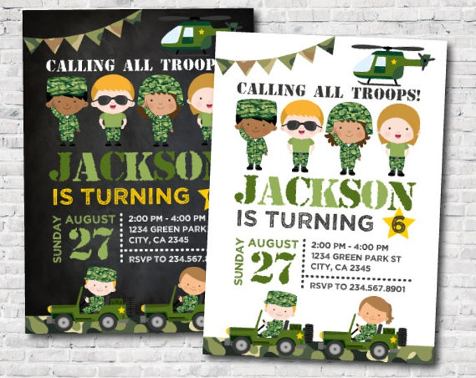 Army Birthday Invitation, Army Invitations, Camo Invitations, Soldier Birthday Invitations, Party, DIGITAL Invitation, 2 options