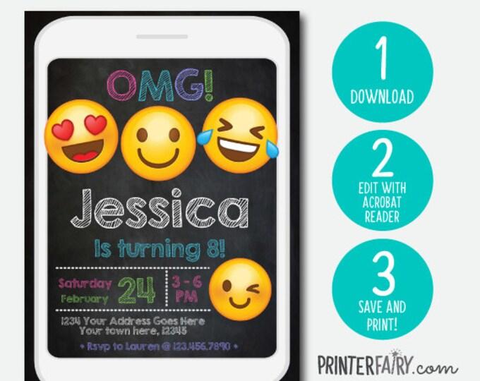 Emoji Birthday Invitation, Instant Download, Emoji Birthday Party, Emoji Birthday Invitations, EDIT YOURSELF