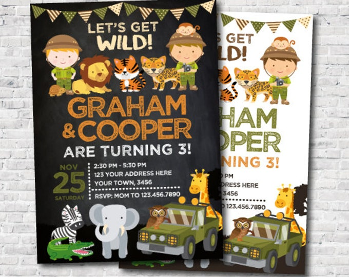 Safari Siblings Birthday Invitation, Jungle Invitation, Zoo Birthday Party, Twins Birthday Invitation, Personalized DIGITAL, 2 Options