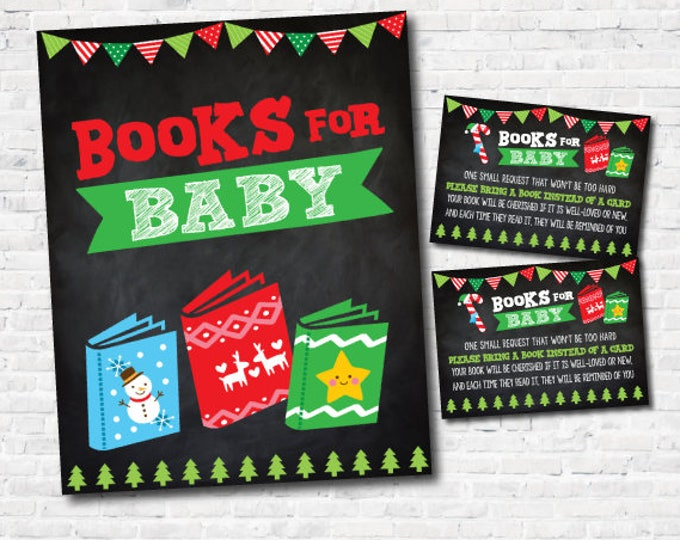 Ugly Sweater Baby Shower, Books for baby Tickets, Books for Baby Sign, Chalkboard, INSTANT DOWNLOAD
