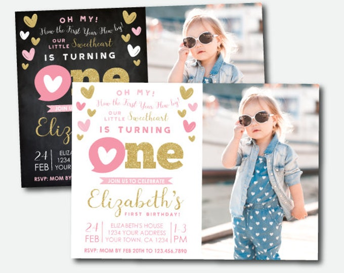 Little Sweetheart First Birthday Invitation with photo, Valentine's Birthday Invitation, Personalized DIGITAL Invites, 2 options