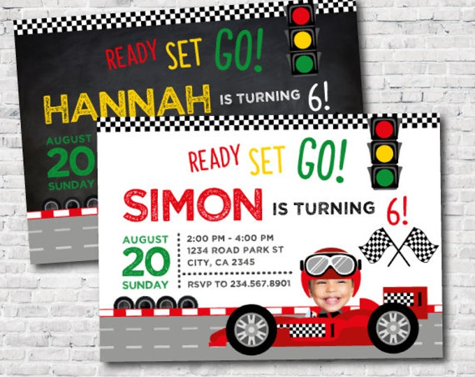 Racing car birthday invitation with photo, Racing invitation, Race car invitations, Boys and Girls invitation, DIGITAL, 2 Options