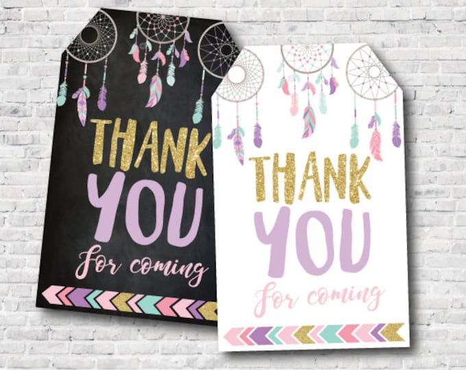 Instant Download Dreamcatcher, Printable Favor Tags, Thank You Tags, DIGITAL