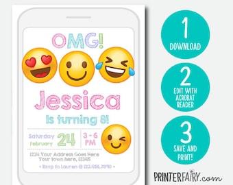 Emoji Invitations, Instant Download, Emoji Birthday Party, Emoji Birthday Invitations, EDIT YOURSELF