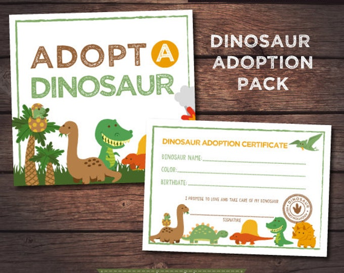 Dinosaur Birthday Party, Adopt a dinosaur, Adventure Birthday Party, Dinosaur Party Sign, Pet adoption party, Instant download