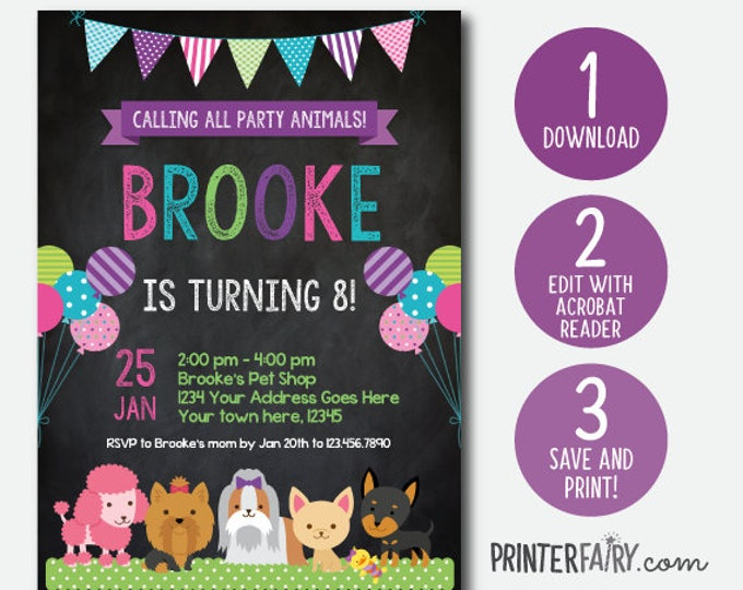 EDIT YOURSELF, Puppy Invitation, Pet adoption party, Puppy Birthday Party, Puppy Adoption, Digital Invitation, Chalkboard, Instant Download