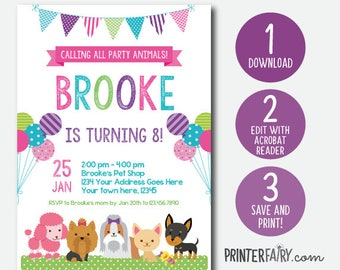 EDIT YOURSELF, Puppy Invitation, Pet adoption party, Puppy Birthday Party, Puppy Adoption, Digital Invitation, Instant Download