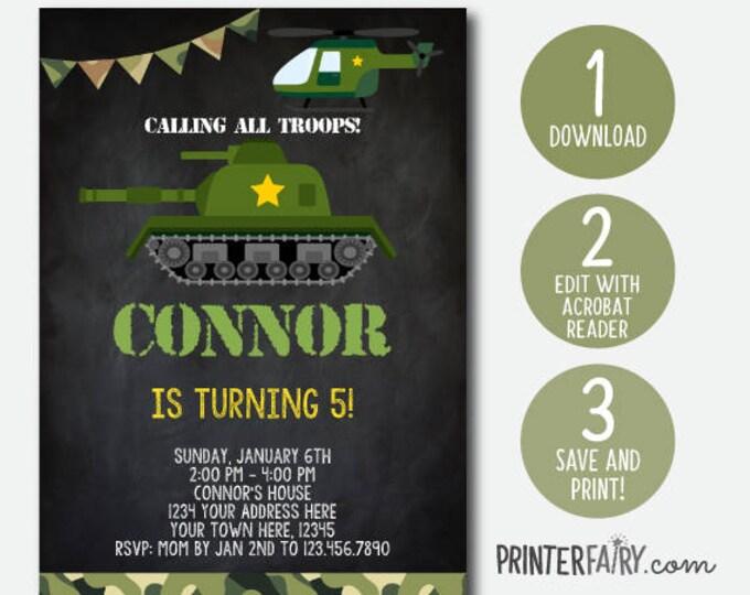 Editable Army Invitations, Camo Invitations, Soldier Birthday Invitations, Army Birthday Invitation, DIGITAL, Chalkboard, INSTANT DOWNLOAD
