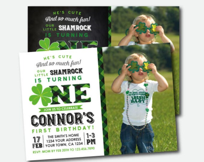 St Patrick Day First Birthday Invitation with photo, Shamrock Birthday Invitation, St Patricks Day Birthday Party, Personalized Invites