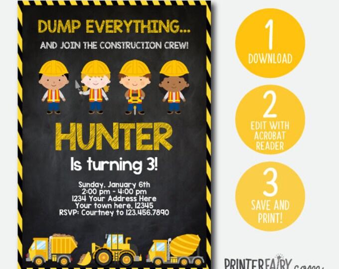 Instant Download Construction Invitation, Dump truck invitation, Construction Birthday party, Chalkboard, Editable Invitation