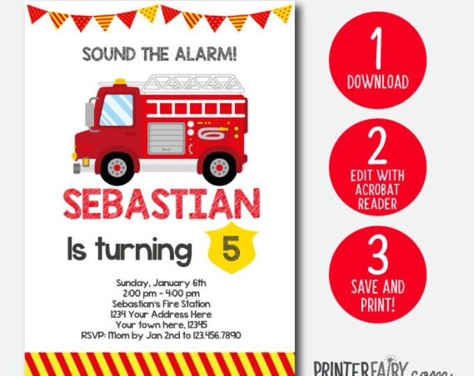 Edit yourself, Fire Truck birthday invitation, Firefighter Invitation, Fire fighter Birthday Party, INSTANT DOWNLOAD, DIGITAL