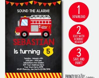 Editable Fire Truck birthday invitation, Firefighter Invitation, Fire fighter Birthday Party, INSTANT DOWNLOAD, DIGITAL