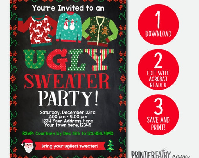 INSTANT DOWNLOAD, Ugly Sweater Party Invitation, Holiday Party Invite, Christmas Party, Editable Invitation