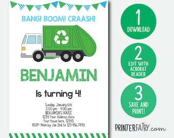 Editable Trash Truck Invitation, Garbage Invitation, Recycle Birthday party, Garbage truck invite, DIGITAL, INSTANT DOWNLOAD