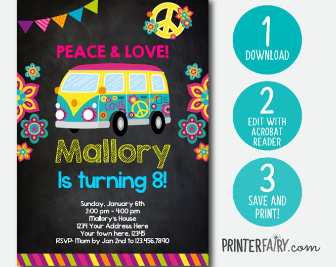 Editable Hippie Invitation, 60s Birthday Invitation, Groovy Invitation, Peace and love invitations, DIGITAL, Chalkboard, Instant Download