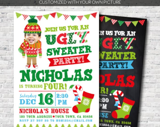 Personalized Ugly Sweater Party Invitation with picture, Christmas Birthday Invitation, Digital Invite, 2 options