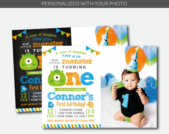 Little Monster Invitation with photo, Monster Birthday Party, Little Monster 1st Birthday, Personalized Digital Invitation