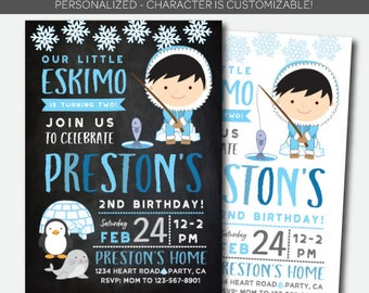 Little Eskimo Invitation, Winter Birthday Party, Fishing Invitation, Winter Invitation, Personalized Digital Invite, 2 Options
