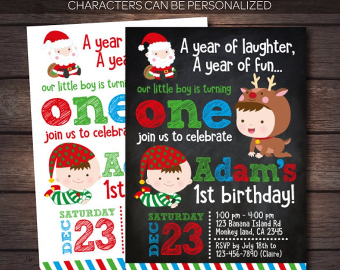Christmas Birthday Invitation, Christmas 1st birthday Invitation, Little Santa Invitation, Christmas Invitation, DIGITAL