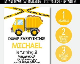 Editable Construction Birthday Invitation, Dump truck invitation, Construction Birthday party, DIGITAL, INSTANT DOWNLOAD