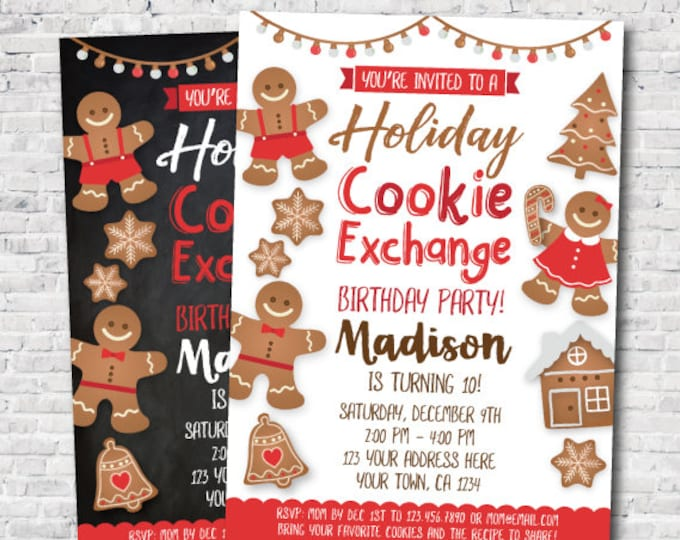 Cookie Exchange Birthday Party Invitation, Personalized Holiday Invitation, I design you print!, 2 options