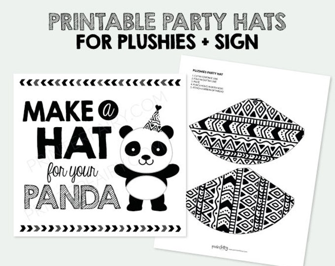 Printable Mini Hats for Plushies, Panda Birthday Party, Pet Adoption Party, Birthday Decorations, Digital Printable Sign, INSTANT DOWNLOAD