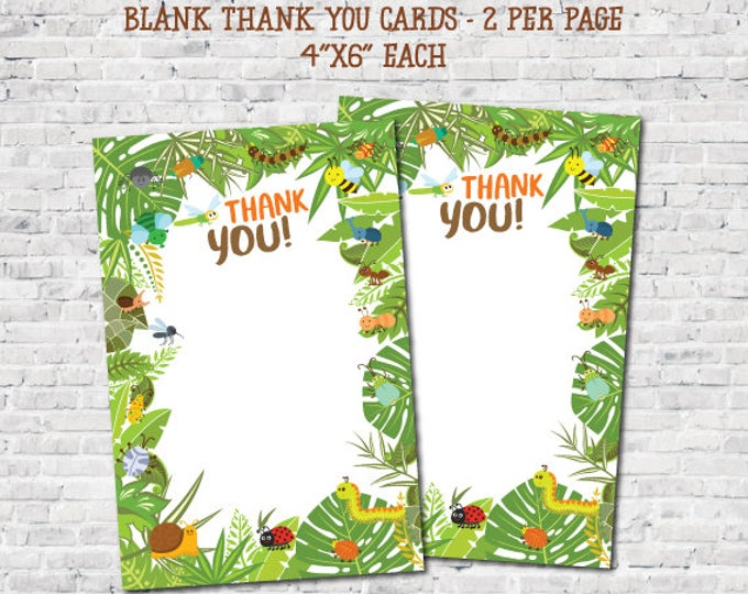Insects Printable Thank You Cards, Creepy Crawlers Thank You Cards, Outdoor Birthday Party Decorations, Blank, DIGITAL, Instant Download