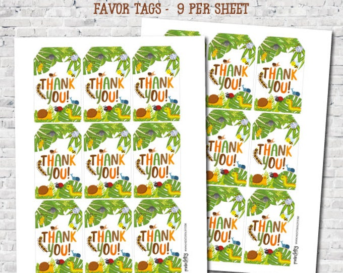 Insects Favor Tags, Creepy Crawlers Thank You Tags, Outdoor Birthday Party Decorations, DIGITAL, Instant Download