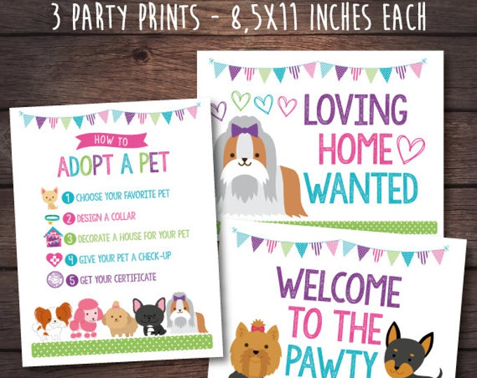 Puppy adoption party, Puppy Birthday Party, Pet Adoption Party,  Puppy printables, Digital files, 3 prints, Instant download
