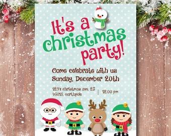 Christmas party invitation, Christmas Birthday Invitation, Christmas Birthday Party Invitations, Rudolph, Santa Claus, Elves, Snowman