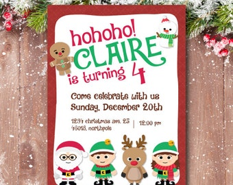 Christmas birthday invitation, christmas party invitation. Santa claus, snowman, elves, rudolph the reindeer