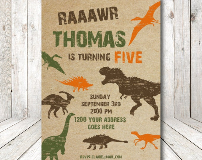 Dinosaur birthday invitation, dinosaur party, printable invitations