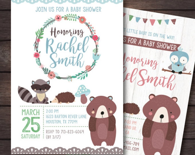 Woodland Baby Shower, Woodland Baby Shower Invitation, Woodland Animals, Woodland Party, Woodland Invite, Woodland Printables, Digital File