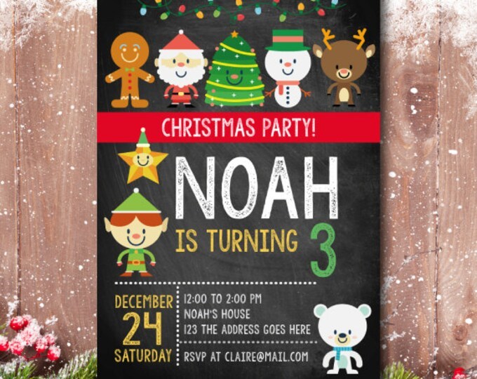 Christmas Birthday Invitation, Christmas Party Invite, Christmas Party, Christmas Invitation,  Christmas Birthday party