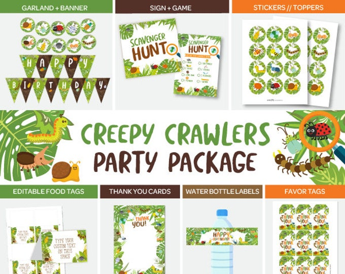 Insects Party Package, Outdoor Birthday Party, Creepy Crawlers Printable Party Pack, DIGITAL, Instant Download