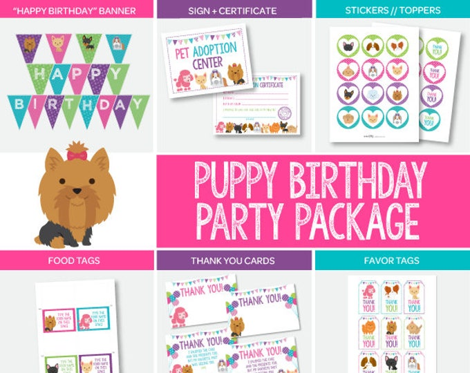 Pet Adoption Birthday Party Package, Puppy Adoption Party, Puppy birthday, Digital files, 7 printables, Instant download
