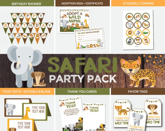 Safari Party Pack, Safari Printable Decorations, Jungle Birthday Decor, Banner, Toppers, Food tents, Thank You's, and more, Instant download