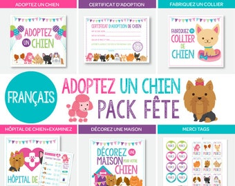FRENCH Puppies Adoption Station Pack, Pet Adoption Center, Digital Printable Files, 8 Printables Included, Instant Download