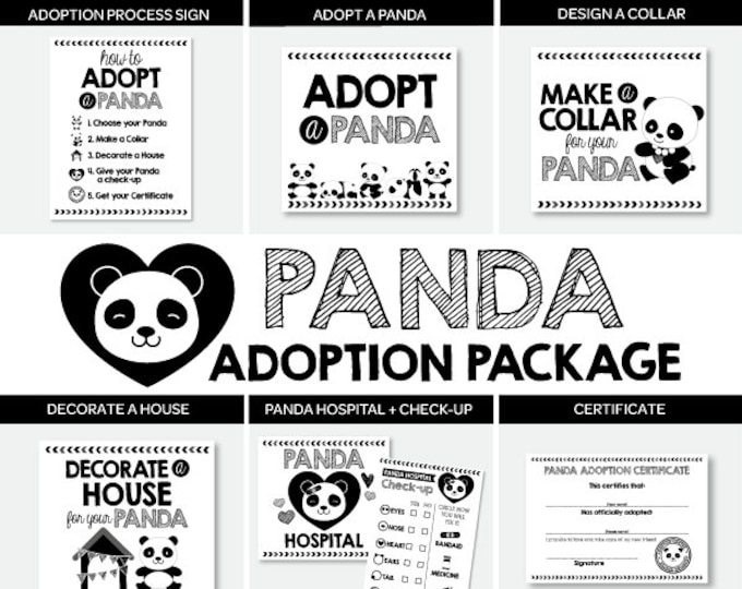 Panda Adoption Full Package, Pet Adoption Party, Panda Birthday Party Printables, Digital files, 7 + 1 printable Signs, INSTANT DOWNLOAD