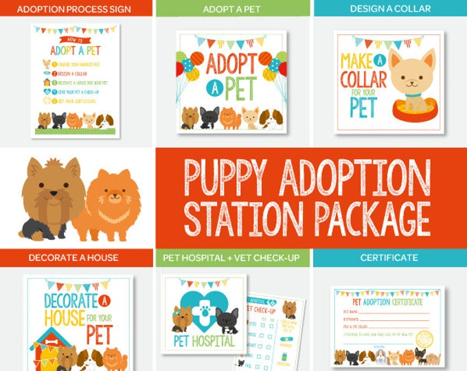 Puppy Adoption Party, Pet Adoption Station Party Package, Puppy birthday, Digital files, 7 designs Included, Instant download