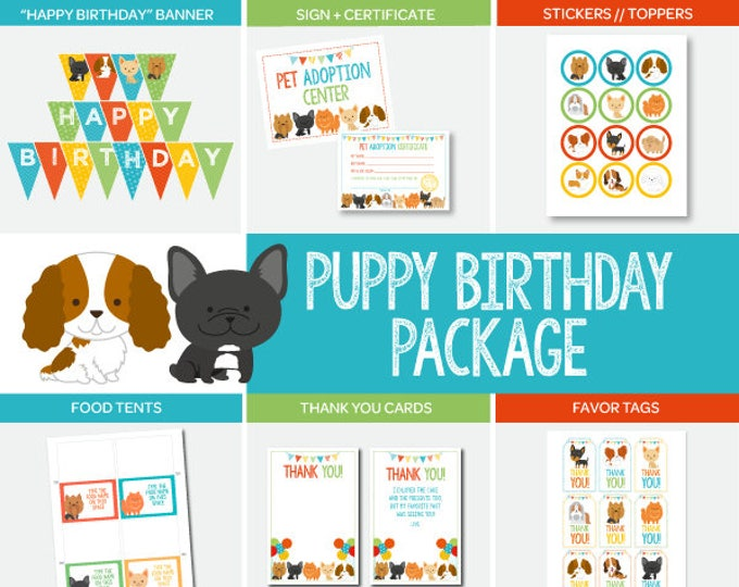 Puppy Adoption Birthday Party Package, Pet Adoption Party, Puppy birthday, Digital files, 7 printables, Instant download