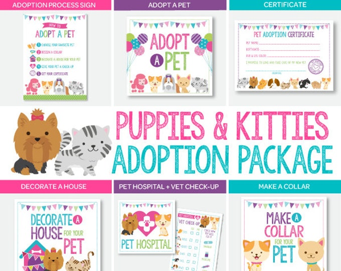 Puppies & Kitties Adoption Station Package, Pet Adoption Center Full Pack, Digital Printable Files, 7 + 1 Signs Included, Instant Download