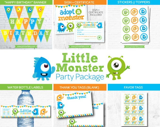 Little Monster Party Pack, Little Monster 1st Birthday Party, Little Monster Package, Instant Download, 2 versions included